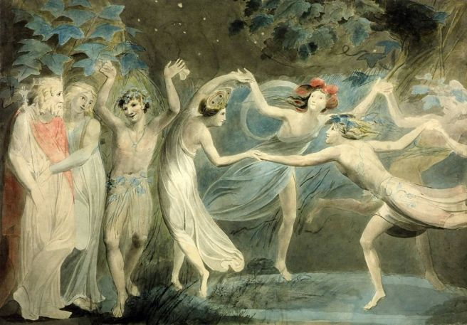 Oberon, Titania and Puck with Fairies Dancing. William Blake c.1786